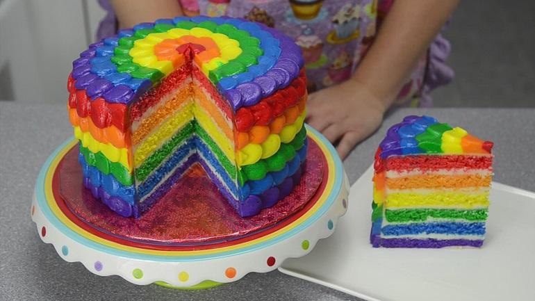 Невероятный радужный торт