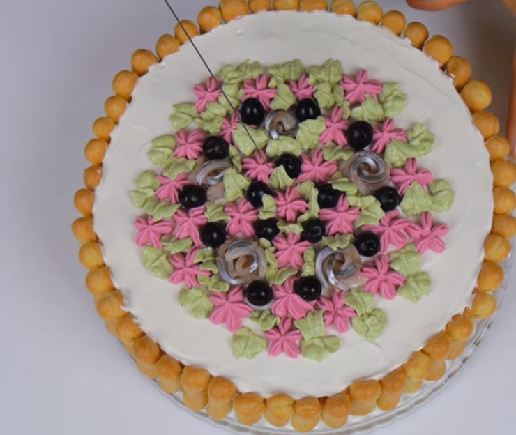 """Обалденный закусочный торт для праздничного стола """"Дамские пальчики"""""""