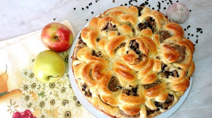 Обалденный пирог с мясом «Хризантема»