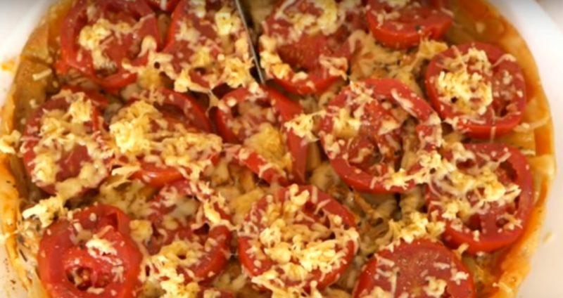 Мега аппетитный перевернутый пирог с курицей и овощами