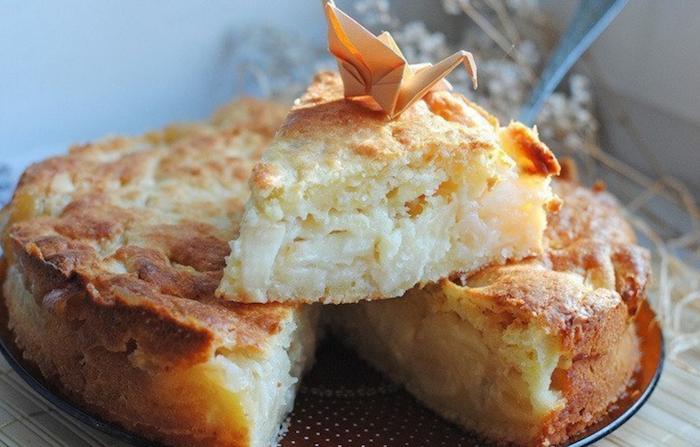 Низкокалорийный овсяный пирог с яблочной заливкой