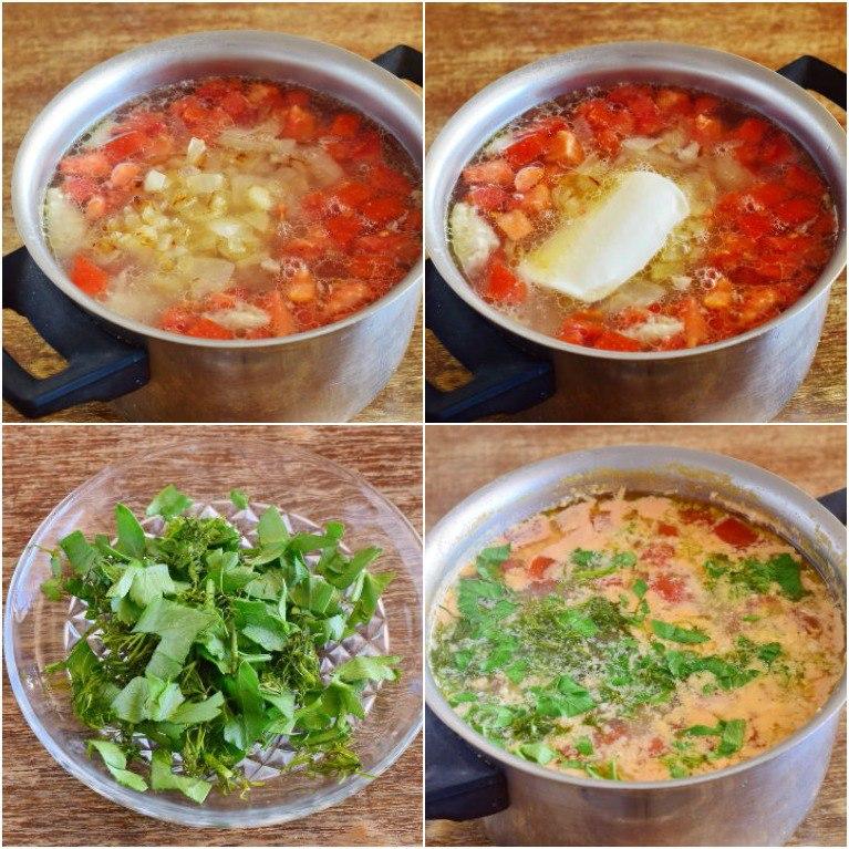 """Вкусный куриный суп с помидорами и сметаной """"Любимый"""""""