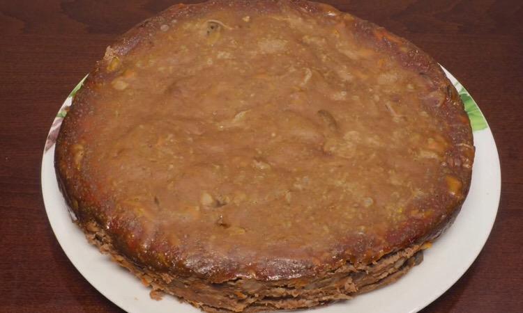 Мега аппетитный и сытный пирог с печенью и грибами