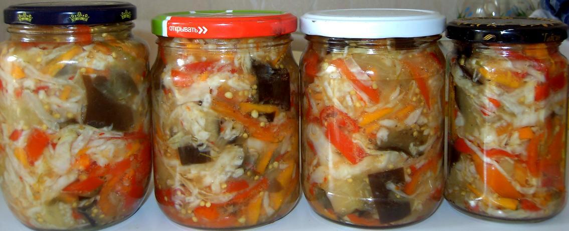 Невероятно вкусный маринованный салат из баклажанов и моркови
