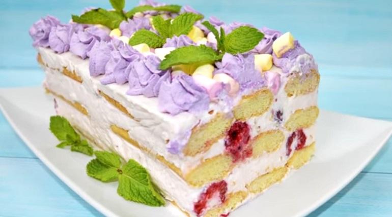Торт «Савоярди» без выпечки: с йогуртовым кремом