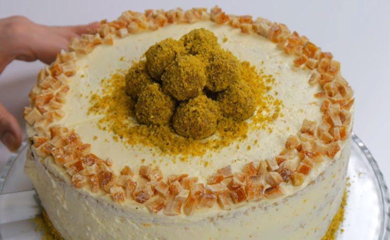 Божественный фисташковый торт с апельсиновым кремом