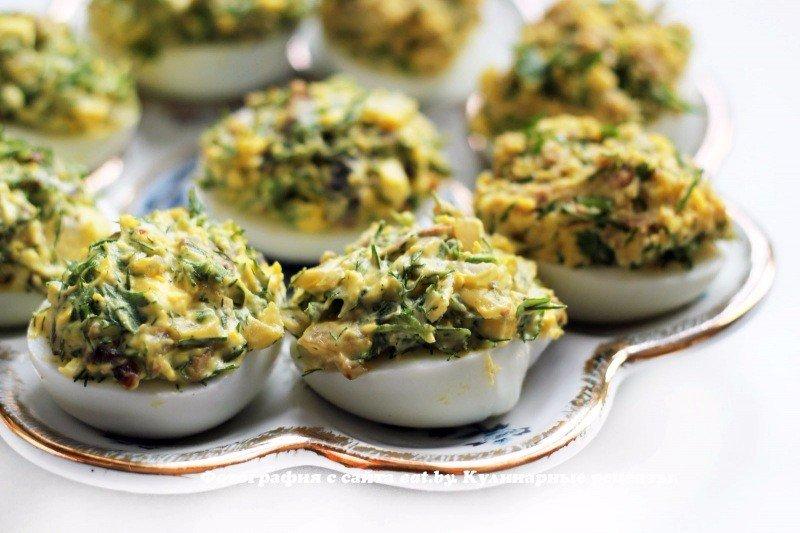 Яйца, фаршированные грибами-лучшая закуска к праздничному столу