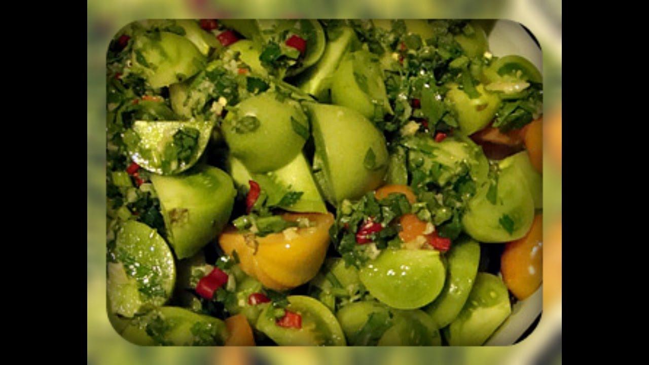Быстрый рецепт приготовления зеленых помидоров по-корейски