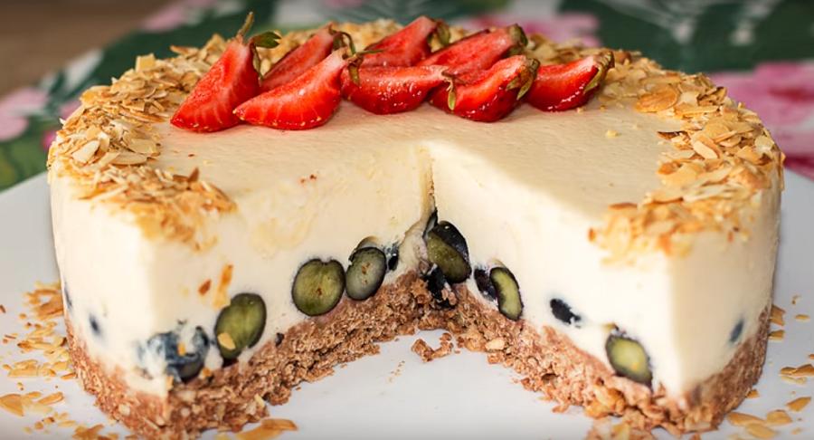 Йогуртовый торт без выпечки - низкокалорийный торт