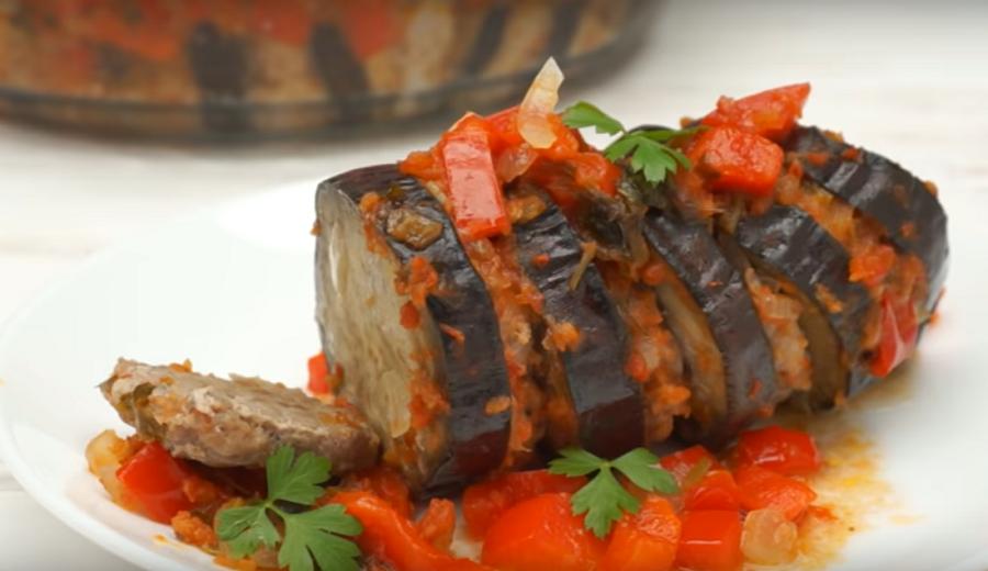 Баклажаны, запеченные с фаршем-очень вкусный ужин для всей семьи