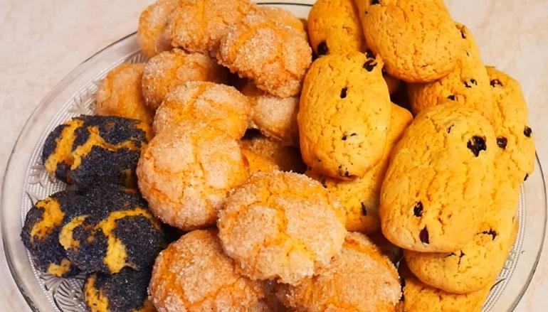 Сахарное песочное печенье «Полено»: с маком и изюмом