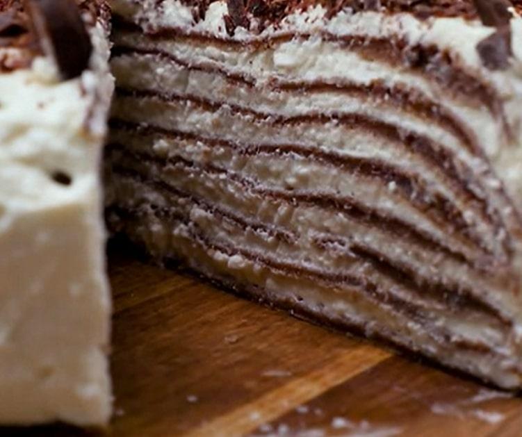 Восхитительно вкусный блинный торт со сливочно-сырным кремом