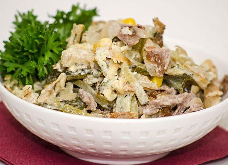 Мясной острый салат с говядиной