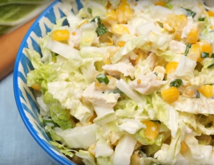 Салат из пекинской капусты с курицей за 15 минут