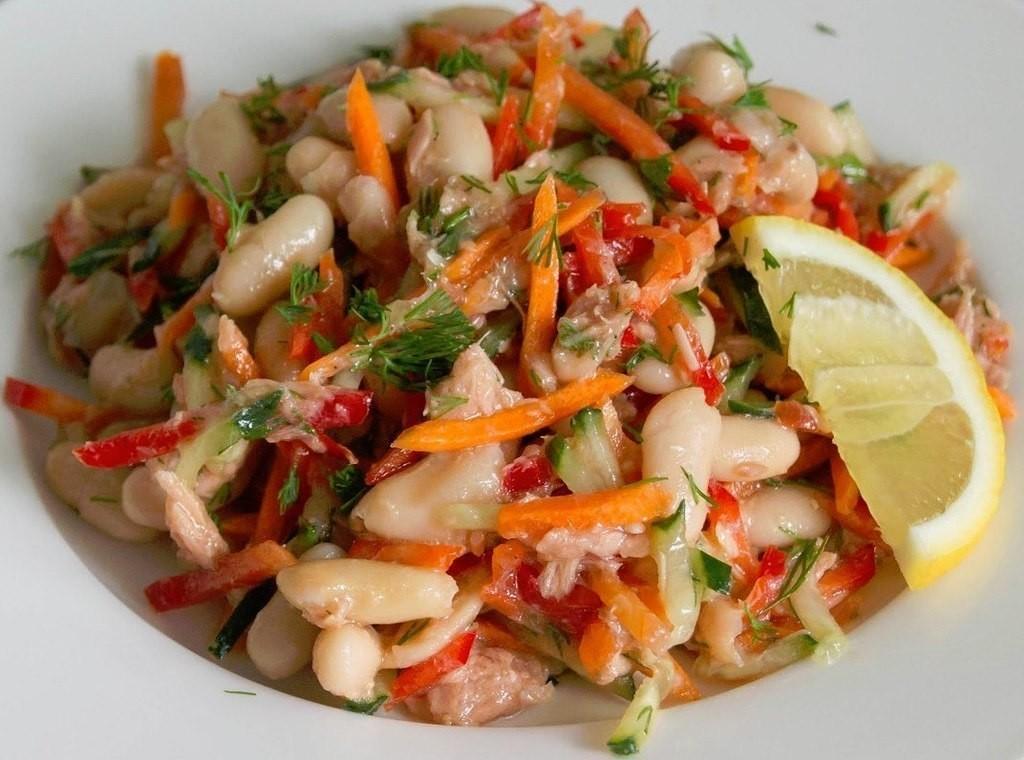 Очень полезный салат на каждый день из тунца с фасолью
