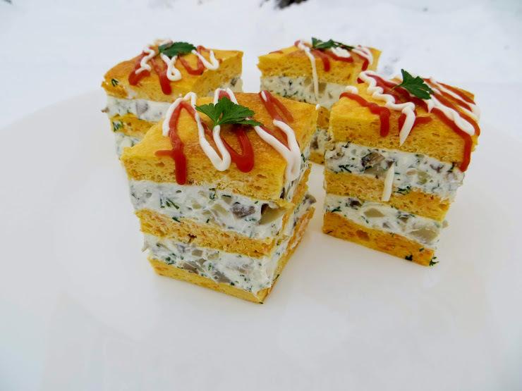Восторг гостей обеспечен!Закусочное пирожное с грибами и брынзой