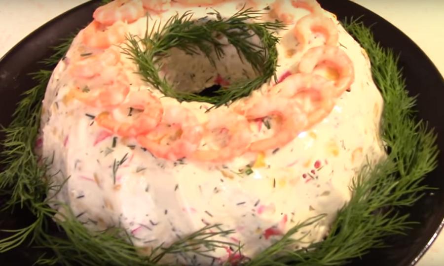 """Праздничная закуска """"Крабовое кольцо"""". Просто, вкусно, празднично!"""
