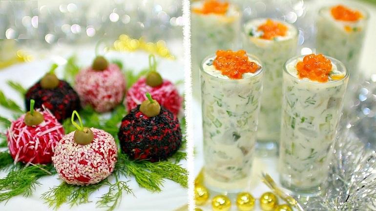 Новогодние закуски: «Селедка в рюмке» и «Елочные шары»