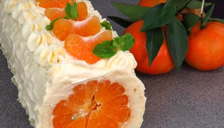 Новогодний рулет с мандаринами: в ожидании сказки