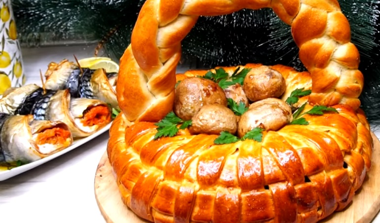 Пирог с мясом «Грибное лукошко»: настоящая праздничная выпечка