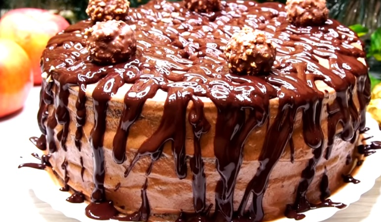 Шоколадно-ореховый торт «Ферреро Роше»: красота для чаепития