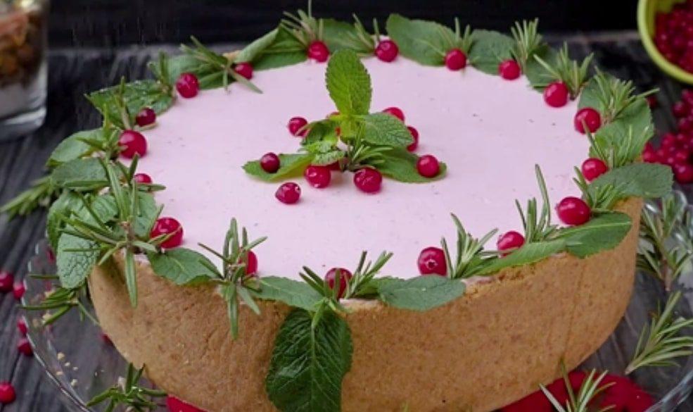 Мега вкусный творожный торт с клюквой