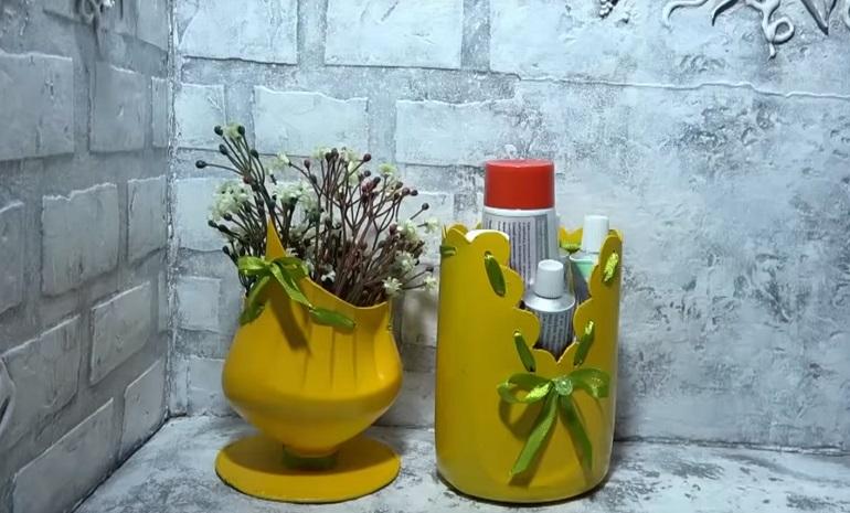 Две интересные поделки из бутылки от «Фейри»: дизайн своими руками