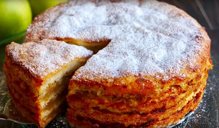 Насыпной яблочный пирог «Три стакана»: все смешали – и готово