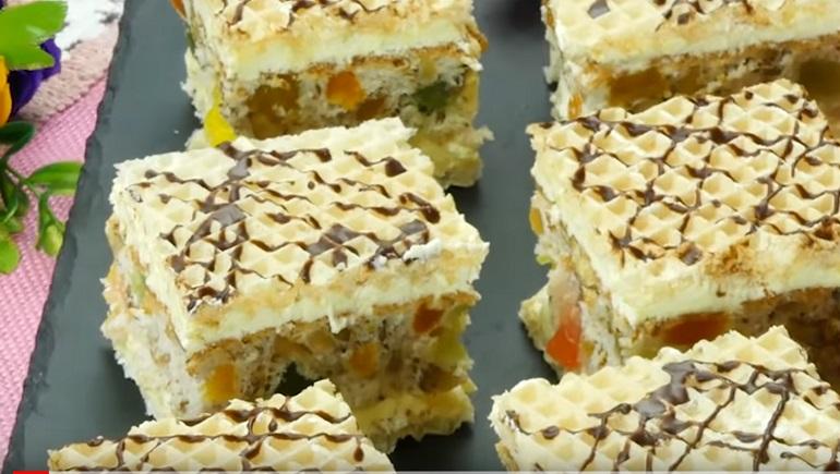 Пирожное «Мозаика» с орехами и рахат-лукумом: любимый десерт