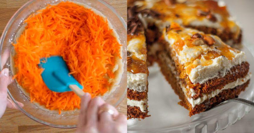 Изумительно вкусный морковный пирог с ванильным кремом