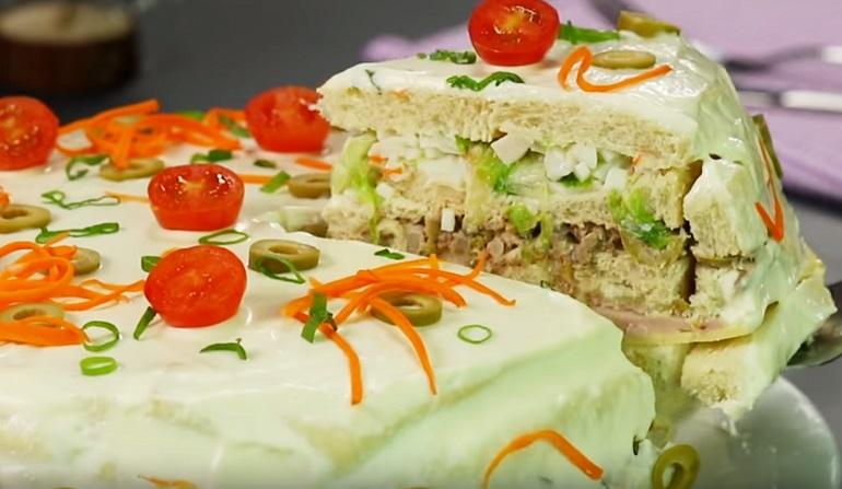 Фантазия на тему торта! Яркий, сытный и вкусный торт – в качестве закуски