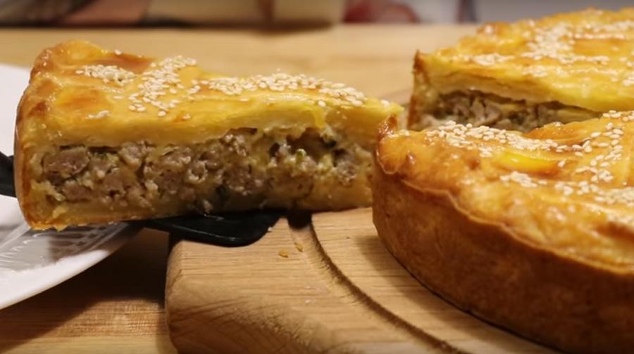 Мясной пирог и творожное тесто для пирогов