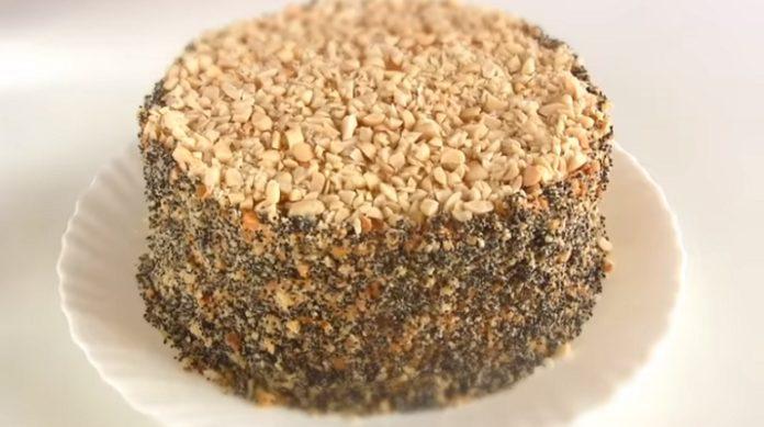 Самый лучший торт со сгущенкой: с орехами и клюквой