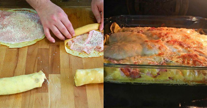 Отменная блинная запеканка с ветчиной и сыром
