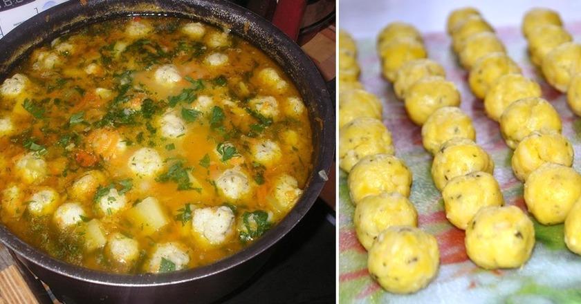Восхитительный суп с сырными клецками