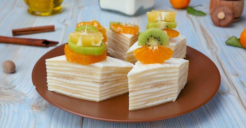 Восхитительно вкусный блинный пирог с творогом