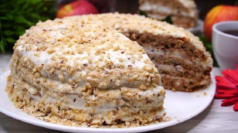 Любимый десерт: торт «Белочка» с фундуком
