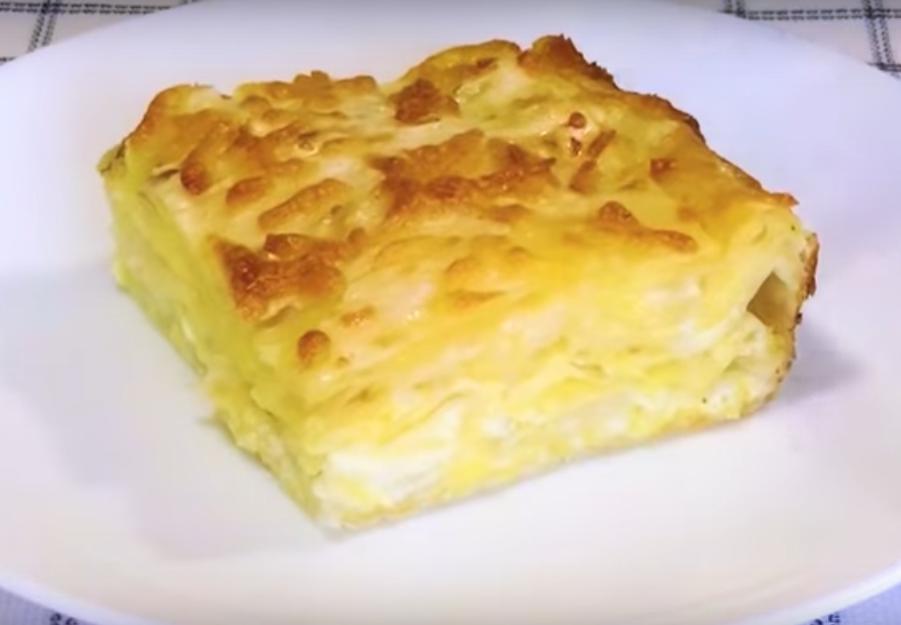 Ленивый пирог  с сыром за 7 минут