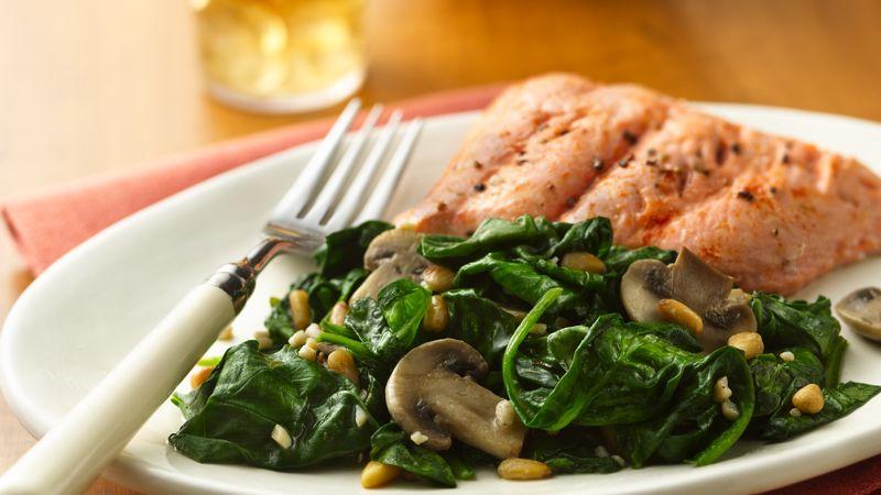 Вкуснейшее блюдо без мяса: шпинат с грибами