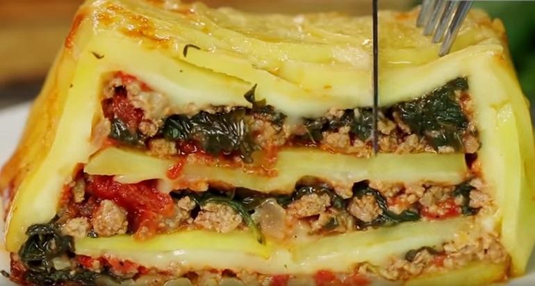Необычный картофельный пирог: с фаршем и сыром