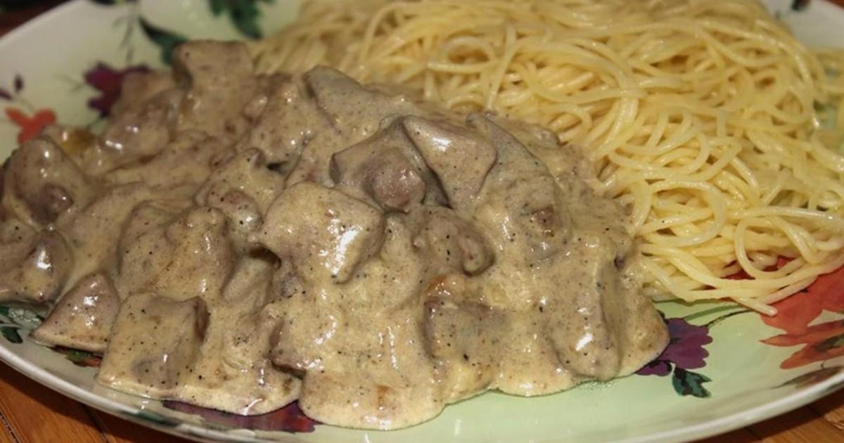 Печень говяжья в сметане (готовим на сковороде)