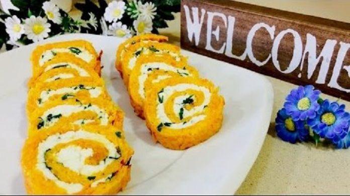 Самая лучшая закуска: морковный рулет с творогом и зеленью
