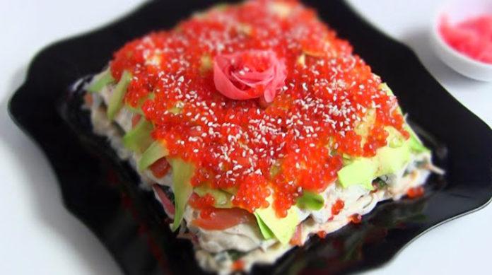 Закусочный суши-торт: любителям японской кухни