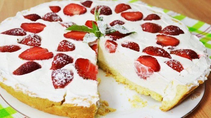 Вкуснейший клубничный тарт с творожным кремом
