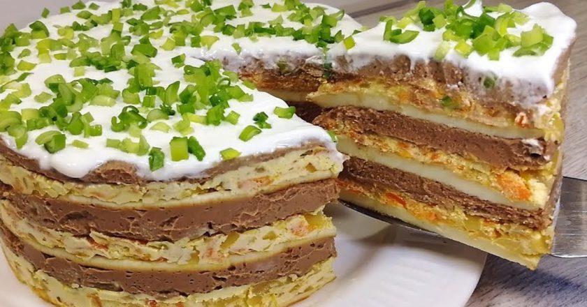 Обалденный праздничный закусочный тортик