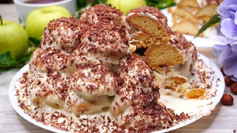 Вкусный песочный торт «Горы в снегу»: необычная сладость к чаю