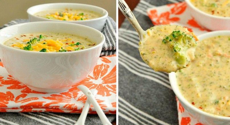 Дуже апетитний сирний суп з печерицями та брокколі