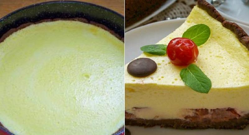 Обалденный заливной пирог с вишней