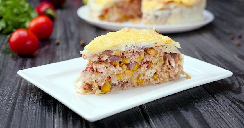 Мега аппетитный пирог из лаваша с курицей