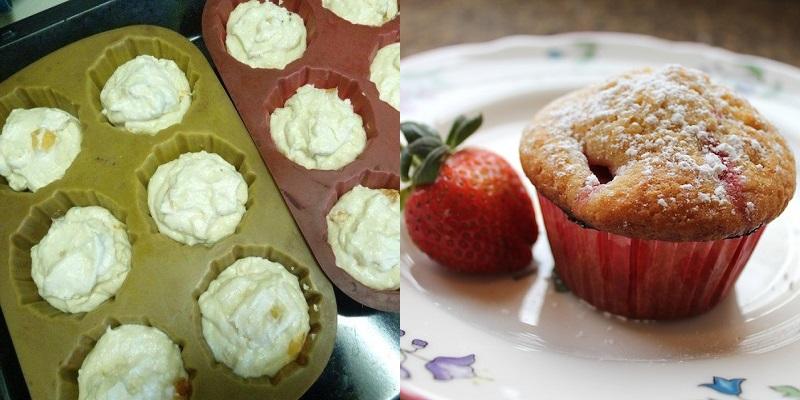 Восхитительные творожные кексы с клубникой